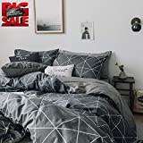 VClife Geometric Duvet Cover Sets Twin Boys Girls Bedding Sets, Checkered Children Teens Bedding Quilt Cover Sets, Gray White Reversible Pattern, Zipper Closure , 4 Corner Ties, Twin