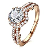 Best Cubic Zirconia Rings - AllenCOCO Cubic Zirconia Ring 14K Gold Plated Halo Review