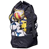 Extra Large Waterproof Mesh Equipment Duffel Bag Heavy Duty Net Ball Shoulder Bag Basketball Volleyball Soccer Rug Ball Football Carrying Bag Tote Storage Sack with Drawstring for 10-15 Balls