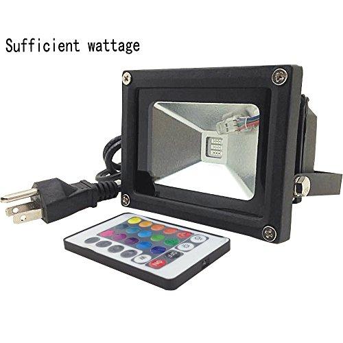 ZHMA 10W Remote Control RGB LED Flood Light, 16 Colors light