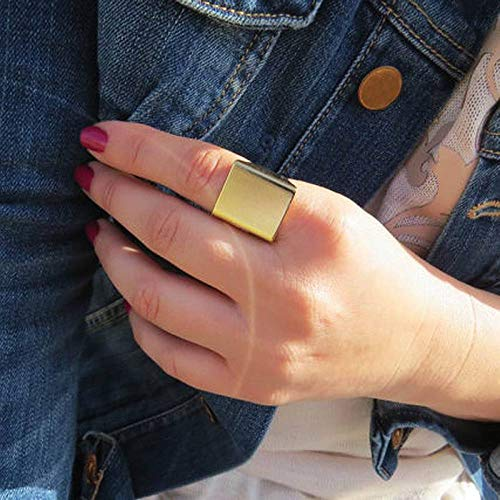 Crazynuts Punk Large Square Wide Ring Lady Finger Gold/Silver Color Fashion Manifesto Ring JewelryGold (0.75' Ring Drive Retaining)