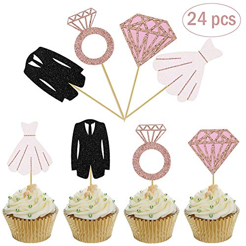 (Mity Rain Bridal Shower Cupcake Toppers - Glitter Diamond Ring Wedding Dress cake Toppers Rose Gold for Wedding Party Engagement Bridal Shower Decorations(24 pcs))