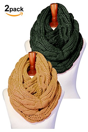 Basico Women Winter Chunky Wide Knitted Infinity Scarf Warm Circle Loop Various Colors