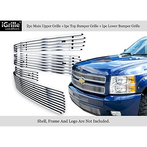 Cheap 304 Stainless Steel Billet Grille Grill Combo Fits 2007-2012 Chevy Silverado 1500 #N19-C33116C hot sale