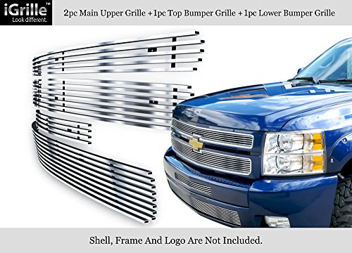 APS 304 Stainless Steel Billet Grille Grill Combo Fits 2007-2012 Chevy Silverado 1500#N19-C33116C Chevrolet Silverado Stainless Steel Billet