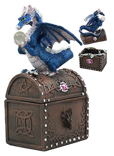 (Ebros Whimsical Pixie Blue Dragon Guarding Celtic Treasure Chest Figurine 6.5
