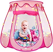 Pop Up Princess Tent, ZUOSEN Ball Pit Kids Play Tent with Star Light for Girls, Foldable and Portable Toddler