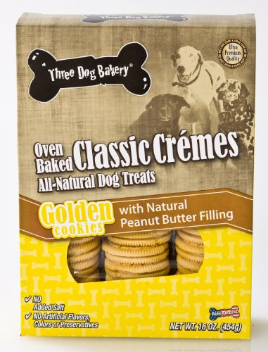 (Three Dog Bakery Classic Creme Golden With Peanut Butter Filling, Baked Dog Treats, 16-Ounce)