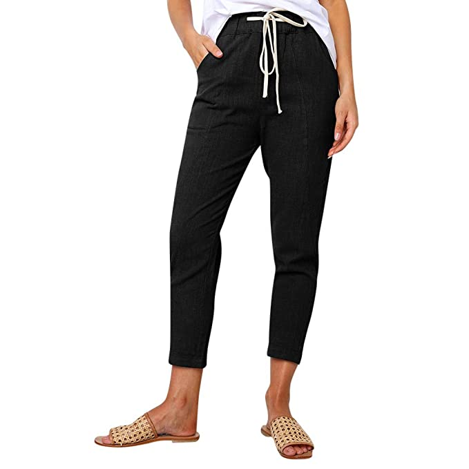 JESFFER Women Straight Pants Casual with Pockets Waistband ...