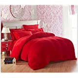 Bobbycool Red Thick Flannel Bedding Soft Warm Quilt Sheets And Pillowcases Winter Bed Duvet Cover Full King Twin Queen