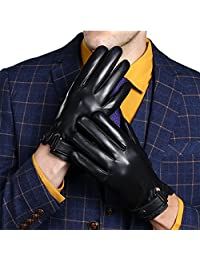 gloves leather Cashmere Lining touch screen business gloves[L,black]