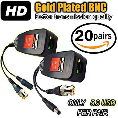 UTP balun hd Ventech cat5 to bnc video baluns transceiver passive with power connector compatible with all CCTV technologies( analog AHD TVI CVI ntsc pal ) 20 PAIRS rj45 75 ohn connectors by VENTECH