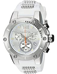 Invicta Mens Speedway Quartz Stainless Steel and Silicone Casual Watch, Color:White (Model: 22511)