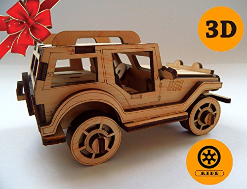 Etno Motif 3D Wooden Puzzle Car Jeep Eco Friendly Toy For Kids And Adults