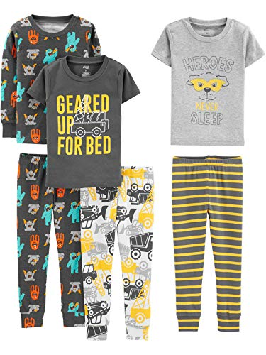 Simple Joys by Carter's Boys' Toddler 6-Piece Snug Fit Cotton Pajama Set, Construction, 4T