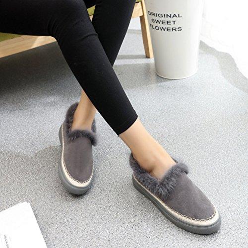 Suède Femme Bottes Chaussure Mocassin JRenok Couleur Gris Chaude à Enfiler d'Hiver Peluché Uine 5E1vvq