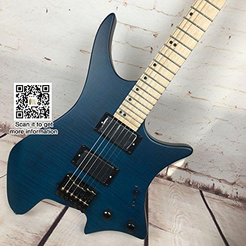 Guitarra eléctrica sin cabeza con 24 trastes, de Yoli®, incluye 1 bolsa de guitarra; piel de tigre, arce, metal; guitarra eléctrica acústica de rock; ...