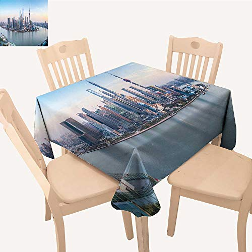 UHOO2018 Tablecloth sh ghai Skyline View at Dusk China Square/Rectangle Table Cover,50x - Rectangle China Magnet