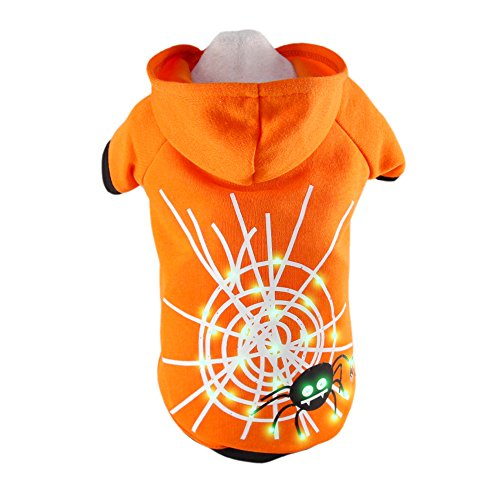 Royal Wise Pet Hoodie Light Up Clothing LED Spider Web Coat Puppy Kitten Clothes (L, Orange)