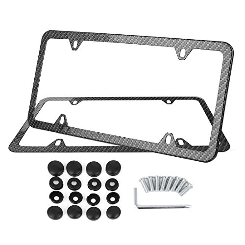 X AUTOHAUX 2Pcs Carbon Fiber Style Car 4 Hole License Plate Frame Holder w/Screw Caps by X AUTOHAUX