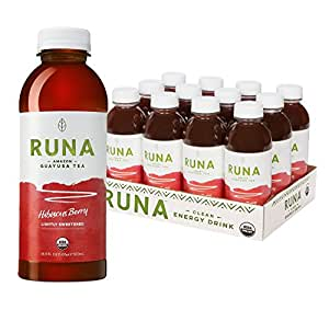 RUNA Clean Energy Organic Guayusa Iced Tea, Hibiscus Berry, 16.9 Ounce (Pack of 12)