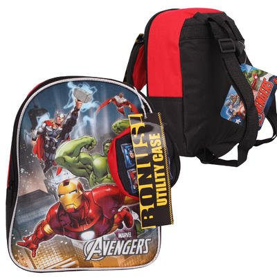 Marvel Boys' Avengers Mini Backpack with Utility Case, Red