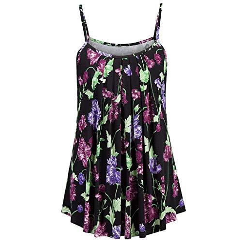 Women Tops Summer Printed Sleeveless Vest Sling Blouse Tank Tops Green - Golf Greens Standard Wall