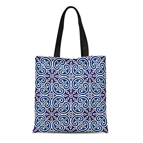 (Semtomn Canvas Tote Bag Brown Royal Geometric of Italian Pattern Modular Abstract Cage Durable Reusable Shopping Shoulder Grocery Bag )