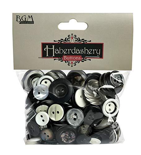 Buttons Galore Botones de abundancia Haberdashery botón, negro/blanco
