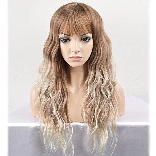 RightOn 23'' Women Girls Lovely Synthetic Mix Color Long Curly Wigs Pin Curls with Neat Bangs Hairnet Included (Brown Mix Ash Blonde) (Long Curl Wig)