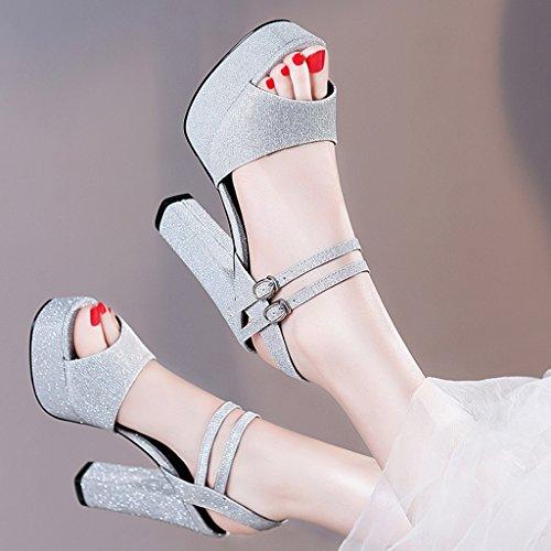 HWF Tamaño 35 Altos Sandalias La Manera mujer de para La Plata Plata Sandalias la Simples Simples los Verano de Zapatos Color Atractivas de Talones Las del gBqxETwwt
