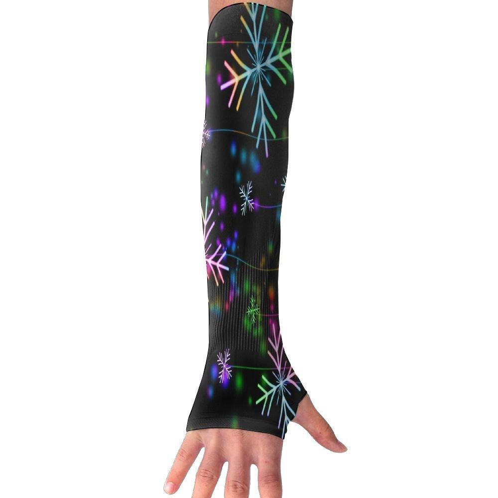 Suining Unisex Colorful Rainbow Snowflake Sense Ice Outdoor Travel Arm Warmer Long Sleeves Glove