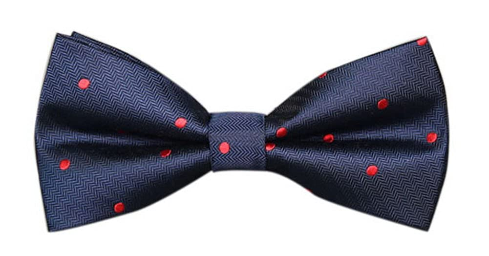 Navy Blue And Red Dots Mens Creative Banquet Fashion Bow Ties