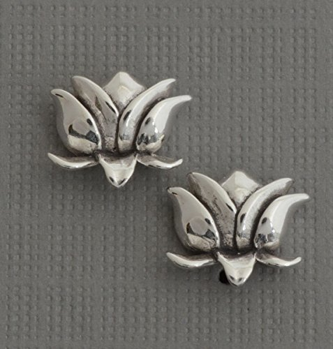 Small sterling silver .925 lotus flower little post stud earrings yoga jewelry