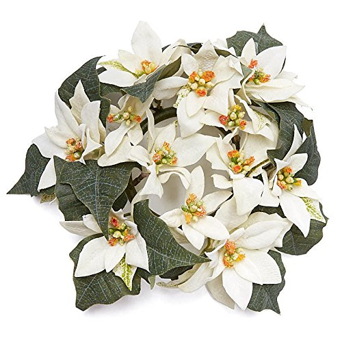 (Factory Direct Craft Ivory Soft Velvet Petaled Artificial Poinsettia Candle Rings for Indoor Holiday Decor)
