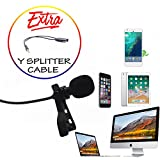 Professional Lavalier Lapel Microphone with Easy Clip On System Omnidirectional Lav Mic for Apple iPhone Android/Youtube, Podcast, Interview, Video Recording-Mic Splitter/Y Connector Cable