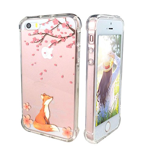 iPhone 5 Case,iPhone 5S SE Case with flowers, Ftonglogy Clear Cute Painting Design Pattern Air Cushion Shockproof TPU Bumper and PC Hard Back Non-slip Protective Case (fox cherry blossoms)
