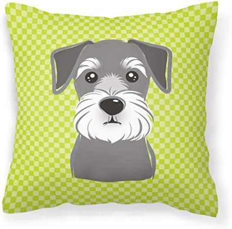 Caroline's Treasures BB1268PW1414 Checkerboard Lime Green Schnauzer Canvas Fabric Decorative Pillow
