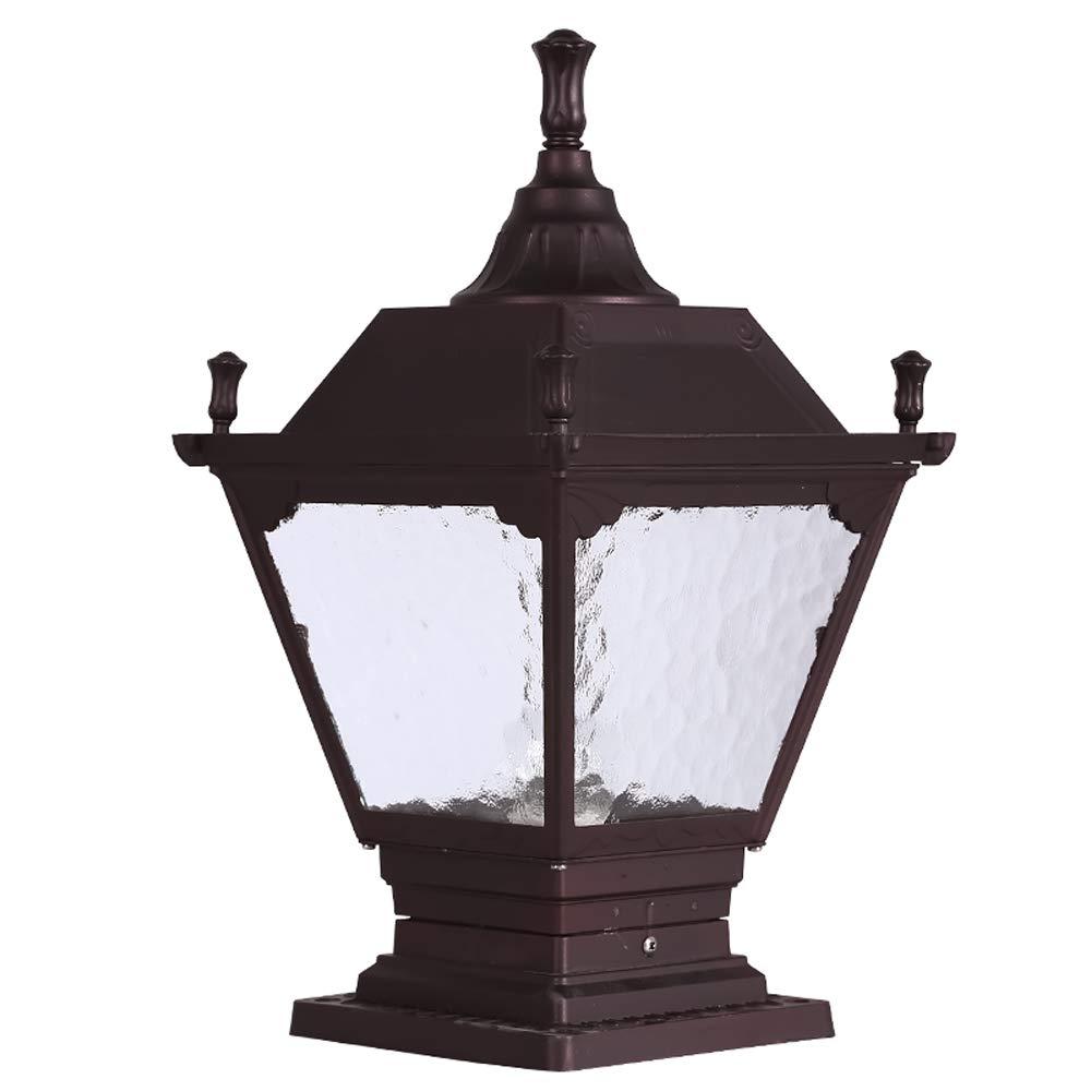 Hines European Outdoor Glass Column Lamp Antique Victoria Landscape Recinzione Villa E27 Decorazione Lampada da tavolo impermeabile Lampione anti-pioggia anti-pioggia (Dimensione   S)
