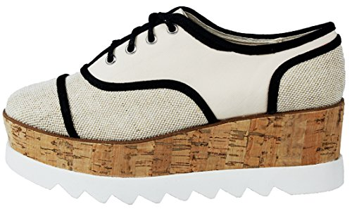 Womens Skyhigh Klassieke Lace Up Amandel Teen Kurkentrekker Platform Hoge Wedge Oxford Loafer Schoenen Bgecvs