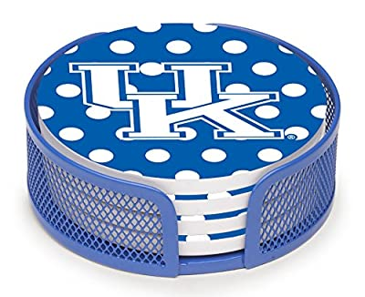 Thirstystone VUKY2-HA27 Stoneware Drink Coaster Set with Holder, University of Kentucky Dots