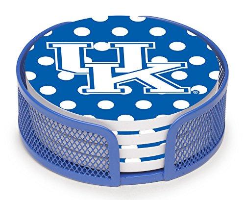 (Thirstystone VUKY2-HA27 Stoneware Drink Coaster Set with Holder, University of Kentucky Dots)
