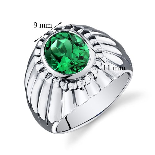 Mens Simulated Emerald Bezel Ring Sterling Silver 3.75 Carats Size 11 by Peora (Image #3)