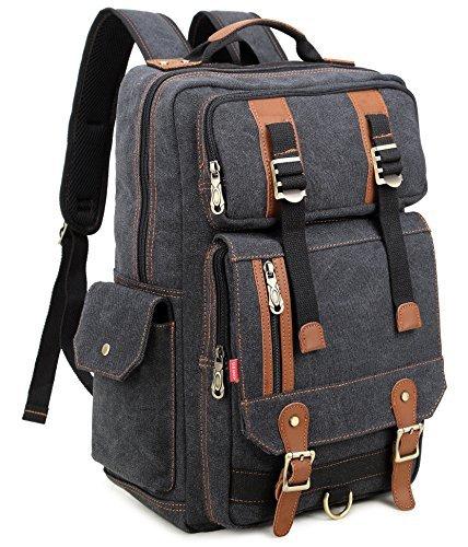 (Crest Design Canvas Hiking Travel Daypacks School Laptop Backpack Rucksack 30L (Black))