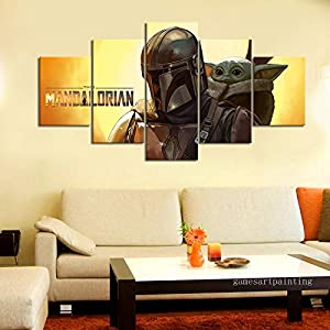 Yyjyxd Unframed 5 Piece Star Wars The Mandalorian Baby Yoda Wall Picture for Home and Living Room Decor Movie Poster Artwork Sticker-with Frame