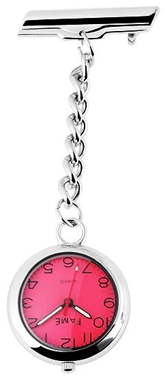 Fame Analog Reloj de bolsillo con mecanismo de cuarzo 460225500001 Plata coloreado Chasis tamaño 28 mm x 7 mm con esfera de color rojo y cristal mineral.