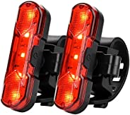 Rear Bike Light 2 Pack, USB Rechargeble Bike Tail Light, Bright Red LED Bicycle Rear Light with 4 Modes for Ni