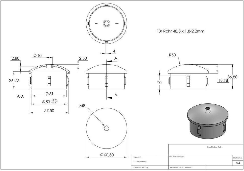 Stahlstopfen Stahl S235JR roh mit M8 leicht gew/ölbt f/ür Rundrohr /Ø 48,3x1,8-2,2 mm Fenau