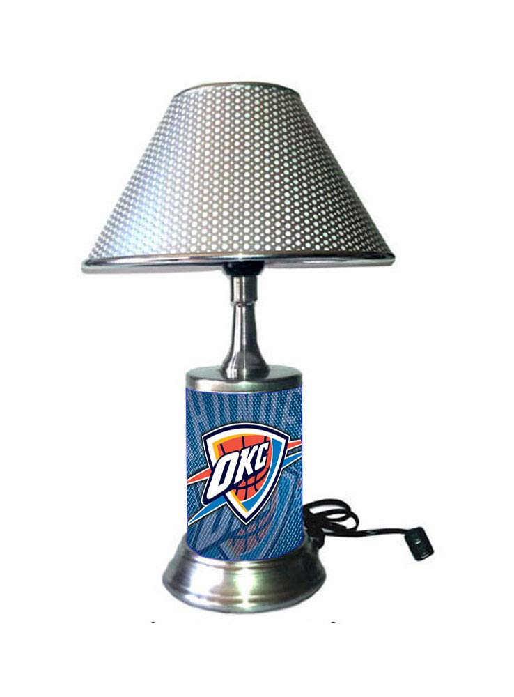 Rico Table Lamp with Chrome Colored Shade, Oklahoma City Thunder Lamp with Chrome Colored Shade