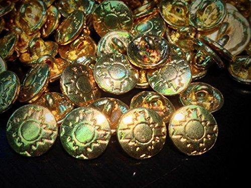 RARE! 50 Metal Buttons NAVAHO Pattern Gold Finish Shank Base 13/MM 1/2